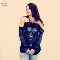 Bohemian Top Off Shoulder Shirt Open Sweater Lace Embroidery Boho Hippie Upcycled Recycled Clothing Eco Friendly OOAK by TheBohemianDream