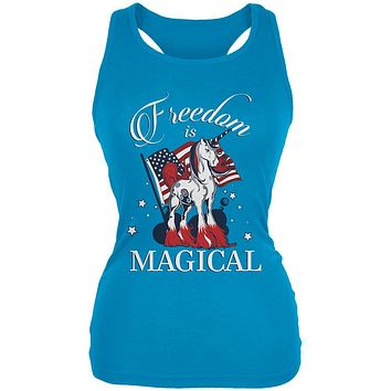 4th Of July Freedom Is Magical Unicorn Juniors Soft Tank Top