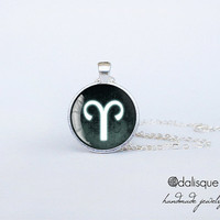 Aries sign pendant European Zodiac necklace the ram fire sign gift jewelry silver for him for her jewellery key ring