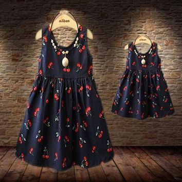 CREYON5U Baby Girls Dresses Summer Matching Mother Daughter Dress Plus Size Lady Cherry Print Cotton toddler Family Clothing Vestidos
