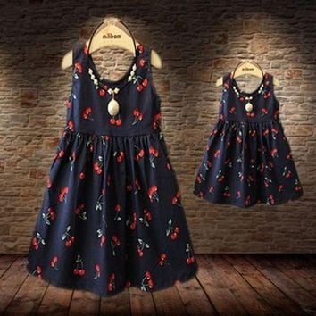 ESBON5U Baby Girls Dresses Summer Matching Mother Daughter Dress Plus Size Lady Cherry Print Cotton toddler Family Clothing Vestidos