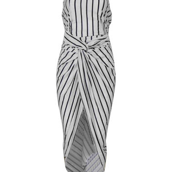 Stripe Cut Out Back Twisted Asymmetric Dress