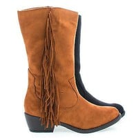 Elvo By Soda, Cowgirl Fringe Mid Calf Block Heel Women's Boots