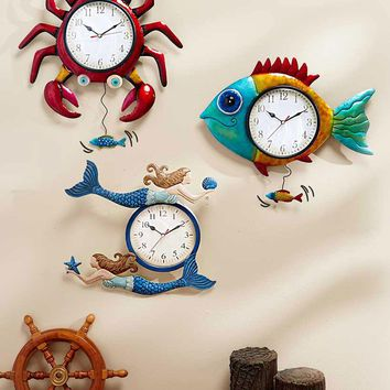 Metal Sealife Wall Clock Crab Fish or Mermaid Vibrant Colorful Coastal Decor