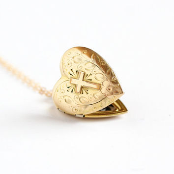 Vintage Gold Filled Heart Cross Locket Necklace - 1940s WWII Sweetheart Vine Floral Flower Art Deco Romantic Religious Love Pendant Jewelry