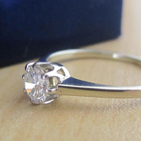 Antique .33 ct Fiery Old Transitional Cut Diamond Engagement Solitaire Ring 18k White Gold Promise Wedding Ring 8 prong Tiffany Setting