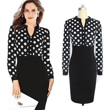 Ladies Long Sleeve V-Neck Polka Dots Patchwork Sexy Slim Fit Midi Pencil Dress