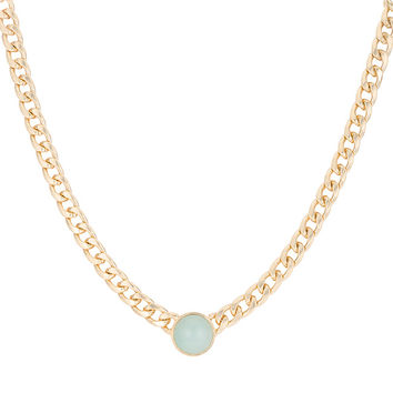 Jade Cat's Eye Cabochon Gold Chain Statement Necklace