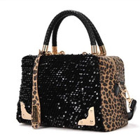 Wisedeal Fashion Leopard sequined ladies women shoulder Messenger bag handbag Tote Purse