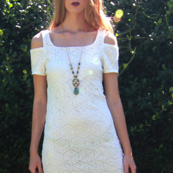 Anna Cold Shoulder Crochet Dress in White