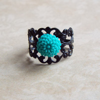Tiny Teal Blue Dahlia Flower Black Filigree Metallic Ring Mum Floral Adjustable Statement Ring