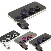Universal 3in1 Clip-On Wide Angle Macro FishEye Lens Mobile Phone Lens For iPhone 5 6 Samsung Note 2 3 4  All Phones fish eye