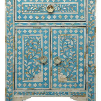 Bone Inlay Furniture - Turquoise Nightstand Side Table Floral Pattern | Free Shipping