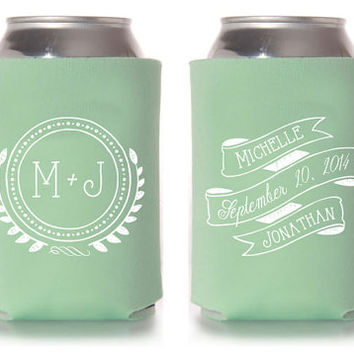 Custom Wedding Koozie - Vintage Monogram