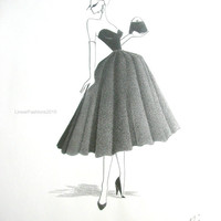 Fashion illustration original drawing ball gown art