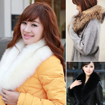 Womens Shrug Winter Faux Fur Collar Scarf Warm Shawl Wrap Loop Stole Cape  7_S