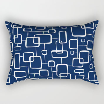 On The Quad - Navy Blue Rectangular Pillow by Heather Dutton