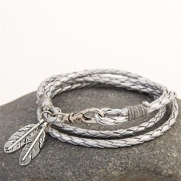 Mdiger Fashion Jewelry PU Leather Bracelets Charm Gift Bangles Multilayer Feather Bracelet Accessories Wedding Men Jewelry