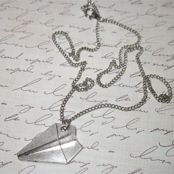 Large Paper Airplane Necklace, Airplane Necklace, Harry Airplane Necklace, Paper Airplane Charm Necklace