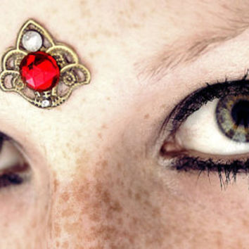 Harem Ruby Bindi, gold, tribal fusion, bellydance, third eye, gypsy, costume, dance, bollywood, boho, fantasy, facial jewelry, goddess, red