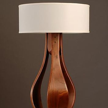 Chloe in walnut with white shade  by Kyle Dallman: Wood Table Lamp - Artful Home