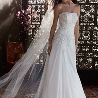 Chiffon Over Satin Gown with Side Draped Skirt - David's Bridal - mobile
