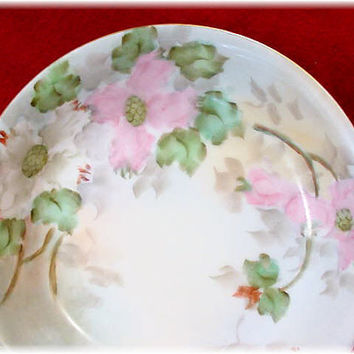 PINK Cherry Blossoms ~ Limoges & Japan ~ 1910 Stunning Hand Painted Porcelain ~ 6 Shallow Dessert Bowls ~ Signed Juliene Parker