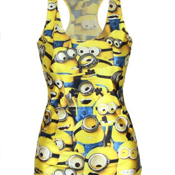 Stylish Vest Minions Pattern Print Camisole Plus Size Sleeveless Bottoming Shirt [6049036289]