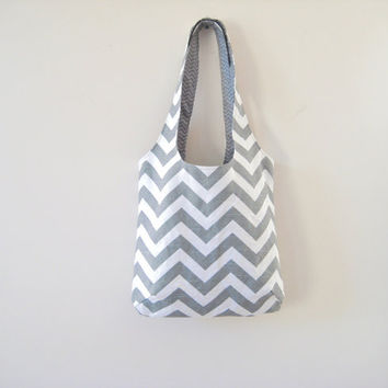 Gray Chevron Bag, Small Chevron Tote, Slouchy Bag, Chevron Purse Grey Slub Canvas, Ready to Ship