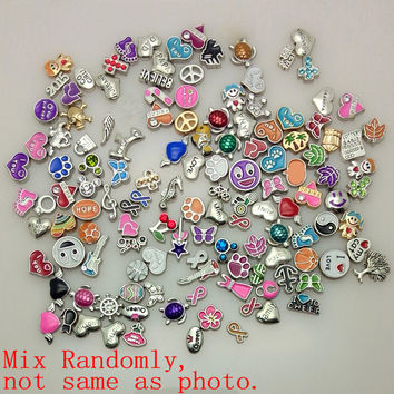 100pcs/lot 2015 New Mixed assorted floating locket charms for living glass locket