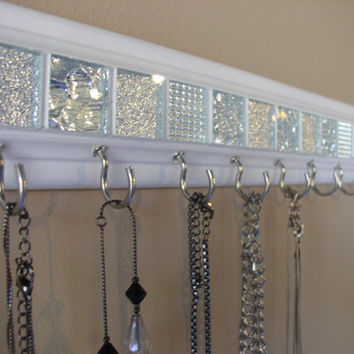 "Jewelry organizer .This necklace holder  in white and silver glass mosaic tile design is 30"" w/ 18  hooks.Necklace organizer jewelry storage"
