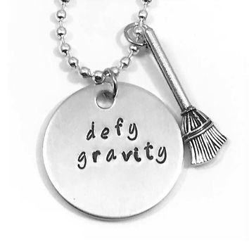 Wicked Broadway Musical Hand Stamped Defy Gravity Aluminum Necklace