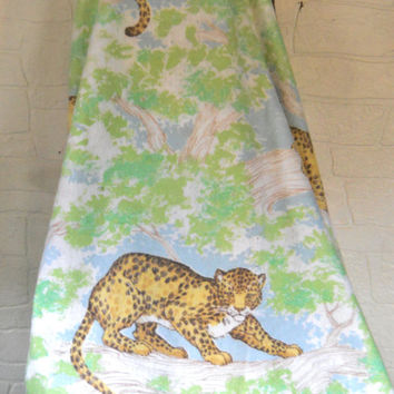 Vintage Jungle Leopard Blanket Retro Blanket Twin Size Bedding Twin Size Blanket Green Blanket Green Bedding Brown Blanket Retro Bedding 70s