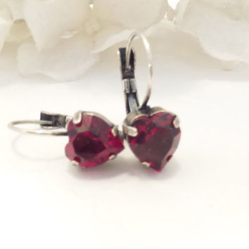 SWAROVSKI CRYSTAL EARRINGS, petite hearts, red hearts, valentines day, great gift, designer inspired,