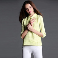 Yellow Pointed Flat Collar Half Sleeve Knit Top