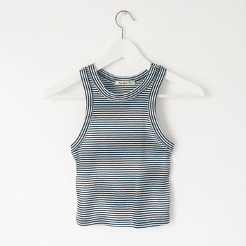 Alison Ribbed Striped Crop Tank