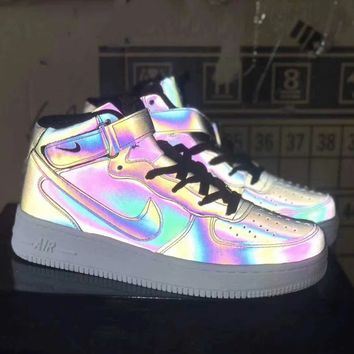 """""""Nike Air Force 1"""" Unisex Casual Fashion Chameleon High Help Plate Shoes Couple Sneakers"""