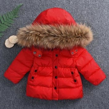 Winter Children Down Coat Boys Girls Warm Hooded Jacket Outwear Princess Teenage Clothes Kids Baby Solid Color Fashion Clothing