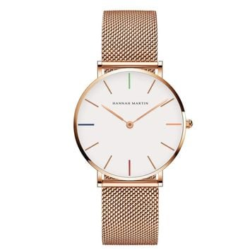 36mm hannah Martin Stainless Steel Mesh Rose Gold Waterproof Ladies Watch
