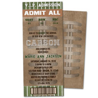 Vintage Football Baby Shower Invitation - Sports Baby Shower Invitations Ticket - Boy Baby Shower - Football Shower Invites - Touchdown