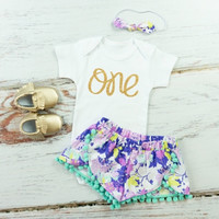 Girls First Birthday Shorts Outfit | Purple and Mint Flowers Shorts with aqua pom pom trim