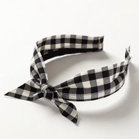 Gingham Bow Headband by Anthropologie Black & White One Size Hair