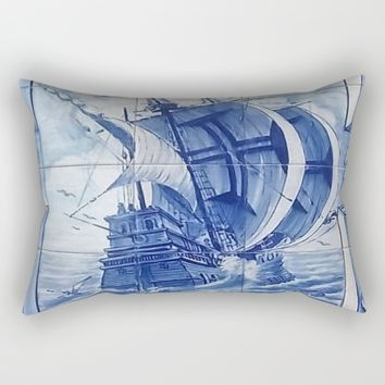 Azulejo Portuguese Tile Art Caravela Rectangular Pillow by Tony Silveira