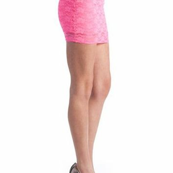 lace mini skirt $14.40 in NEONPINK NEONYLW ORANGE - Skirts | GoJane.com