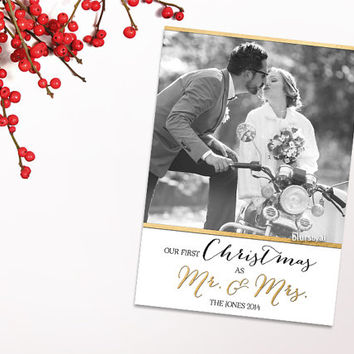 Printable Christmas card, printable photo Christmas card, Our first Christmas as Mr and Mrs card, black & white gold, customized card -C027