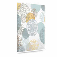 "Maike Thoma ""Floating Circles Design"" White Blue Canvas Art"