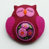 Brooch  OWL by fineDollyLolly on Etsy