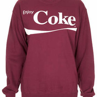Petite Enjoy Coke Sweat - Burgundy