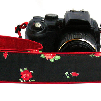 Floral Camera Strap.dSLR Camera Strap. Canon Camera Strap. Red and Black Camera Strap. Women accessories