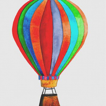 Contemporary Rainbow Hot Air Balloon Hand Embroidery Pattern